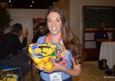 Joan Wickham with Sunkist, showing the new 1 lb. Meyer-lemon bags.