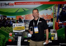 Adrian Down with RedLine Produce holding the TC 8000 from Zebra Technology.