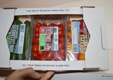 A new product from Amco: The garden pack. It includes mini cucumbers, mini sweet peppers and grape or medley tomatoes.