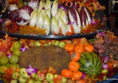Specialty produce, including jackfruit, on display at Coosemans' booth.