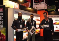 Mark Weese, Michell Amicone and Nicholas Hanna of Arco Produce, showing the new Select One Garden Pack, containing mini cucumbers, mini sweet peppers and grape tomatoes