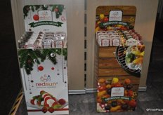 Seasonal retail promotion displays from RedSun Farms. These are for Christmas and Summer.