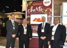 Stephen Cowan, Rob Medcalf, Steve Zaccardi and Danny Elias, Mucci Farms, with the new Cherto cherry tomato on the vine