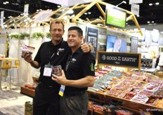 Dirk de Jong and Steve Poklemba, Village Farms, showing their favorite tomatoes