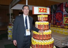 Clive Garrett, head of communications at ZZ2 with their new tomato juice produce range.