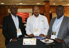 Coillard Hamusimbi of IAPRI (Zambia), Mandela Mokoena of RSA Group and Chance Kabaghe, also IAPRI.
