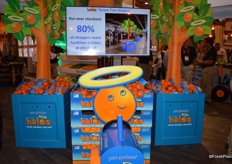 New in-store promotion from Wonderful Citrus, featuring a grove-to-store tractor and mandarin grove trees.