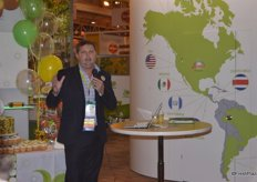 Nathan Flowerday with Zespri addresses a speech in celebration of Zespri's 20th anniversary.