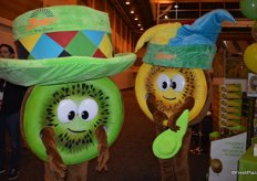 Mascots promoting traditional green kiwi fruit as well as SunGold.