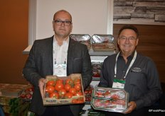 Max Mastronardi and Ken Green show club packs of Westmoreland-TopLine Farms organic tomato program.