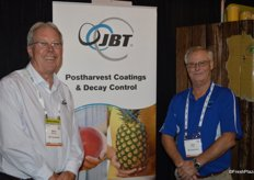 Serving freshly squeezed orange juice to trade show attendees were Steve Messinger and John Freer with JBT.