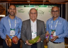 Jose Roggiero, Nelson Roggiero and Ricardo Roggiero with Freshway Produce proudly show yuca, coconut, plantain and malanga.