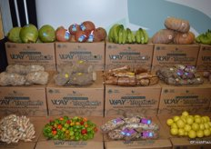 Exotic fruit and vegetable varieties on display in the Freshway Produce booth.