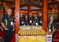 Proudly showing mangos are Gary Clevenger, Tom Hall, Lulu Valle, Alvaro Valerio, Pedro Dominguez, Luis Orrantia (Tropical Specialists) and Mary Velasquez with Freska Produce.