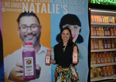 Natalie Sexton with Natalie's Orchid Island Juice Company proudly showing Blood Orange juice as well as the recently launched Carrot Ginger juice.
