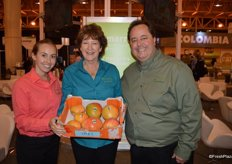 Megan Schulz, Kellee Harris and Gary Caloroso with Giumarra Companies proudly show mangos from Australia.