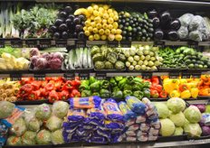 Selection of refrigerated vegetable items.