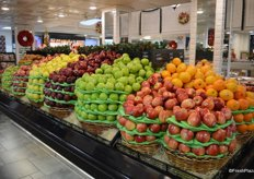 Overview of the store's selection of apples.