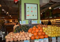 The sign above the squash display educates the customer on the different squash varieties available.