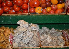 Specialty mushrooms and tomatoes.