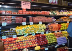 The organic fruit section. Since the store just opened two months ago, some signage is still temporary.