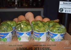 Cups with Brussels sprouts, also called Brussel cups. Offered at $3.99 each.