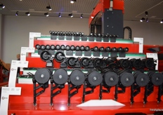 A display showing various roller sizes for sorting.