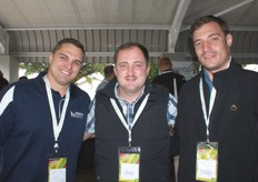 Adrihan Kruger, market agent with Marco agency, with Paolo Pera and Pierre Lombaard of In2Food fruit processors.