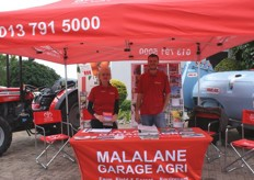 The stand of Malelane Agri with Tina Baer (marketing executive) and Martin Odendaal, sales executive.