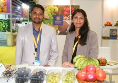 Director Tushar Kharkar with Priyanka of Shanteya Exports (India); dehydrated foods, spices and dry fruits are also available for export.