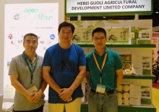 Gavin of Great Wall (right) with Zhang Yuxing and co., developing pears in Hebei, China.
