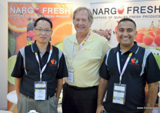 Nargo Fresh and Honey Bear are together in a stand. From left to right, Richard Lee, Nargo Fresh, Randy of Honey Bear and Ntin Rajkumar, Nargo Fresh. Nargo Fresh exports to China, the Middle East and India.