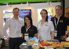 Gavin Wylie, Claire Fitchett, Bethany Hughes and Scott Montague on the Montague stand.