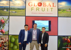 GlobalFruit's marketing strategy in China is focussed on the country's second and third tier cities. As such it has become very succesful exporting Canadian cherries. From left to right are Jing Tian Niu, Andre Bailey and Jackson Ng.