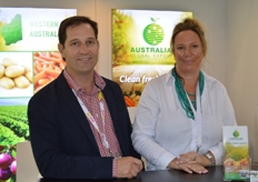 Melissa Cross, David Highham Global Exports Australia at the tradefair for the first time as part of the Taste Australia. The company grows in Western Australia giving them a shorter time to the Asian markets.