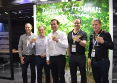 T&G Global celebrate the partnerships with Plant & Food Research and Montague. Hamish Montague, Peter Landon-Lane (CEO Plant and Food Research), Ray Montague, Scott Montague and Darren Drury