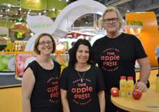 Amanda Lyon, Sally Gallaghan and Ross Beaton from The Apple Press. The company is on the point of launching a line of apples juices from New Zealand made from selected varieties including Jazz and Envy apples.
