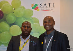 Tebogo Mokhere from the Department of Trade and Industry, South Africa who sponsored the new look South African pavilion at Asia Fruit Logistica with Clayton Swart from SATI.