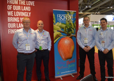 Greg Cross, Glen pool, Shane Newman and Bradley Bould promoting the Sonya apple at the Fresh Co stand.