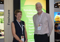 Richard Bennett and Clare Hamilton at the Fresh Care stand.