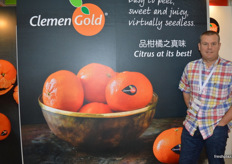 Nico van Steden from Core Fruit at the ClemenGold stand. ClemenGold have had a very positive year, especially in China.