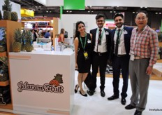 Puja Thakrar, Suraj Thakrar and Jai Thakrar from Jalaram Fruit from Costa rica with their visitor at that moment.