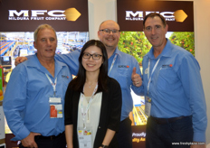 The Mildura Fruit family: General Manager Perry Hill, Trade Development Mngr. Matthew Bates, Sales Manager Marcus Scott with WELLCOME Category Manager Joyce Chan (HK).