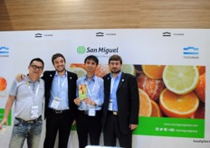 Juan Martin Hilbert and Andres Haloua from San Miquel Argentina with their visitors at the stand.