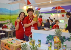 """Commercial Manager Sharin Rebollido with General Manager Tan Chooi Khim of S&W Fine Foods (Singapore); recently launched their ""Klear Can"" pineapples."""