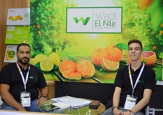 """Wadi El Nile Managing Director Mohamed El Abagy with Marketing Specialist Jan Syllwasschy; conceptualized the ""I am Egyptian"" slogan for their fruit and veggies."""