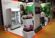 The only stand with fresh flowers on the exhibition