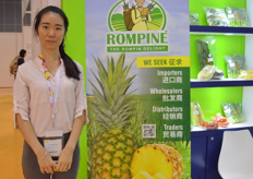 Janet Liu of Great Wall Economy Trade, distributor of Rompine Malaysian pineapples.