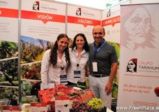 Laura Mariscal, Anne Loisy and Alberto Lopez of Grupo Tarahumara, an Mexican exhibitor promoting several products under which their grapes.