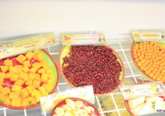 Tropical Farm is focusing more on the exotic: pomegranate segments, diced mango, sliced bananas, and yucca segments.